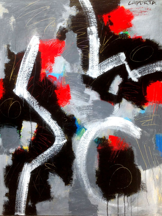 Don Diego.jpg - Painting,  122x91x2.54 cm ©2010 by Gilbert Laporta -                                            Abstract Art, Canvas, Contemporain, Noir, Gris, Ligne, Geste, Surface
