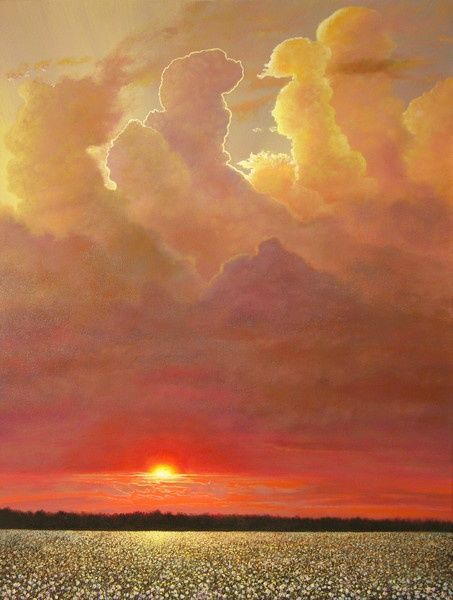 Golden Pillars - Painting,  48x36 in ©2007 by Jerrie Glasper -                            Realism, landscape art, cotton field art, sunset, delta, mississippi, southern, realistic painting, outdoors