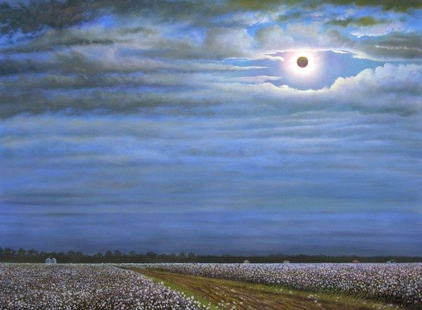 Southern Eclipse - Painting,  48x36 in ©2007 by Jerrie Glasper -                            Realism, solar eclipse, cotton field, southern, landscape, art, delta, mississippi