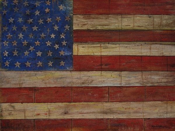Stars and Stripes - Painting,  48x36 in ©2007 by Jerrie Glasper -                            Realism, american flag, USA, US flag, patriotic, patriotism