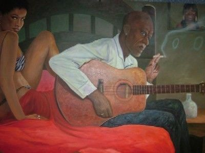 Satin Sheets - Painting,  48x36 in ©2006 by Jerrie Glasper -            mississippi, delta, blues, musician, guitar, people, blues man