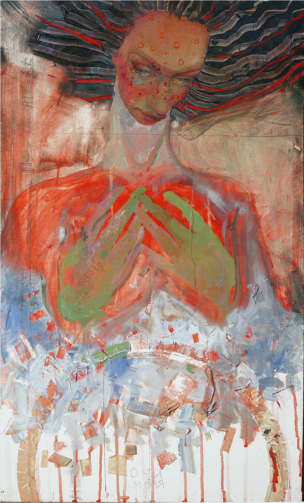BIRD - Painting,  31.5x19.7 in, ©2017 by MOIMOI -                                                                                                                                                                                                                                                                                                                                                                                                                                                                                                                                                                                                                                                                                                                                                                                                                                                                                                                                                                                                                                                                                                                                                                                                                                                                                  Abstract, abstract-570, Fabric, Cotton, Canvas, Spirituality, Women, Outer Space, Love / Romance, Portraits, love, youngrtist, russianart, youngrussianartist, expressionism, woman, hands, beautifulface, beautiful, bird, fever, red, blue, hair, creation, selfportrait, portrait