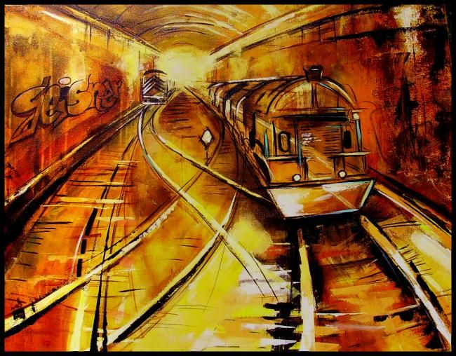 tunel - Painting,  72x91 cm ©2011 by gleisner -                            Abstract Expressionism, peinture urbaine, tableaux moderne, train, tunnel