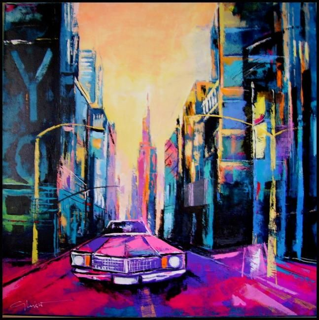 chevrolet rose - Painting,  90x90 cm ©2012 by gleisner -                            Contemporary painting, tableau voiture, peinture urbaine, new york