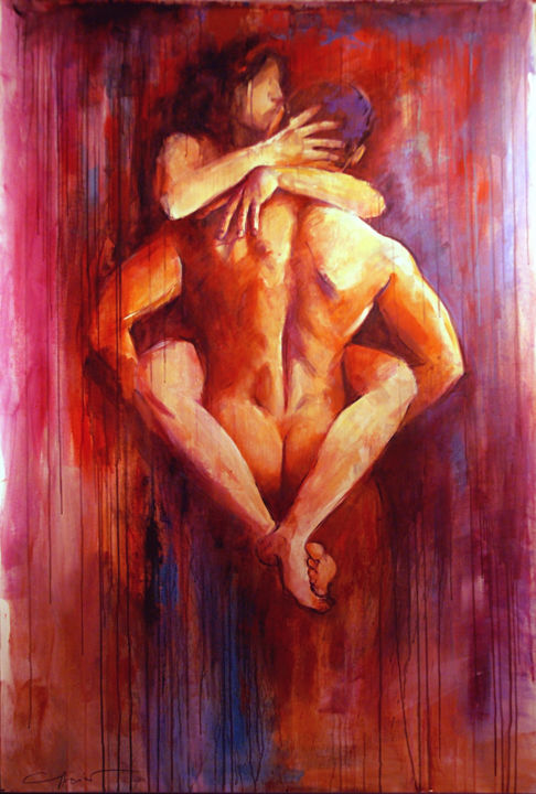 un baisé tendre - Painting,  160x0x110 cm ©2014 by gleisner -                                                            Figurative Art, Canvas, Nude, nu, art contemporaine, un baisé, rouge, femme, homme