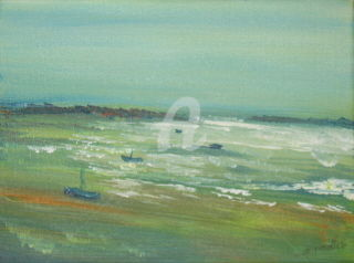Paysage marin - Painting, ©2007 by Ghyslaine LEONELLI -                                                              paysage mer sud