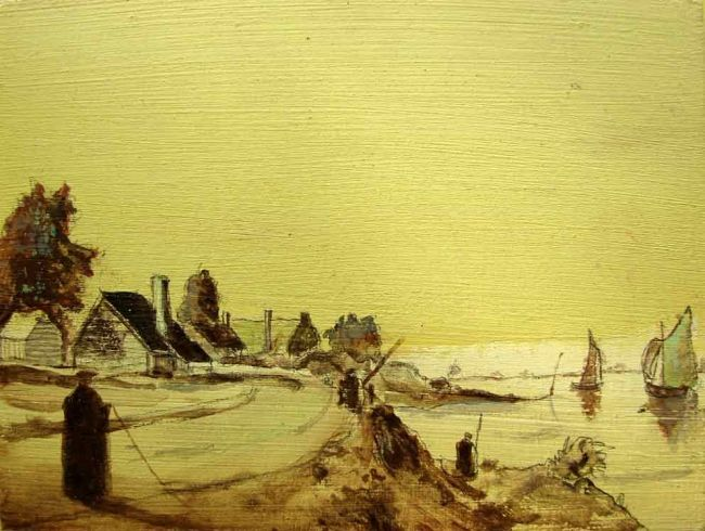 along a Dutch river Painting by rob arbouw | Artmajeur