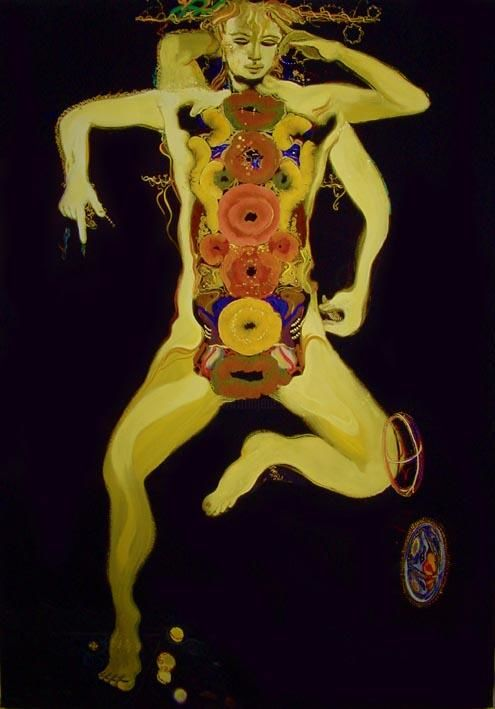 Yellow walker - Painting,  180x140 cm ©2004 by rob arbouw -