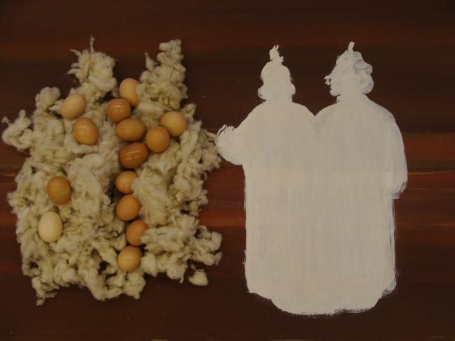 Mixed Media,  100 x 70 cm ©2010 by rob arbouw -  Mixed Media, Other, eggs wool Kabuki