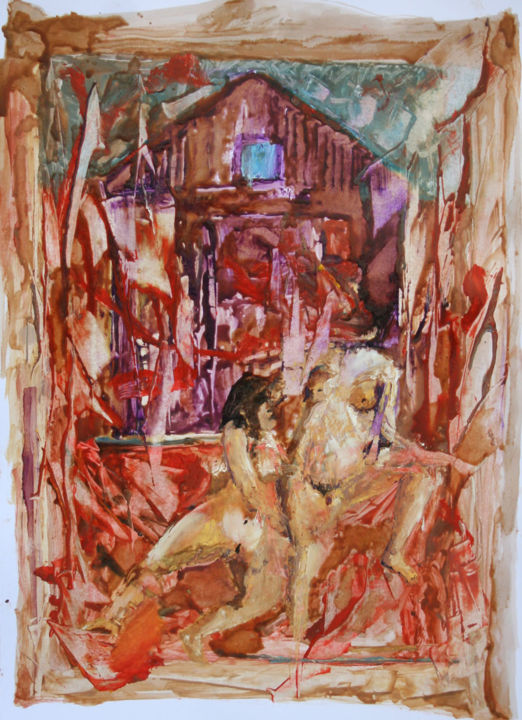 gouines - Painting ©2015 by Grégory M. Compagnon -                                                            Figurative Art, Paper, Erotic, lesbienne
