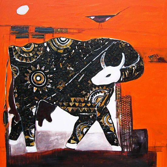 """Painting titled """"Bravo to the Cow!"""" by P.Gnana, Original Art, Oil"""