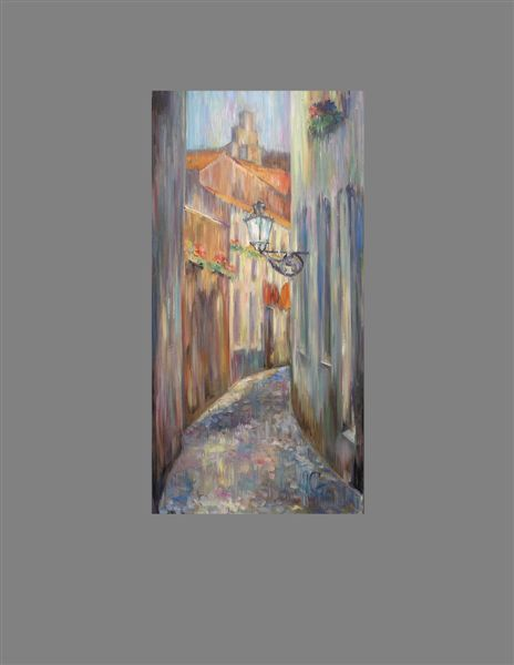 """Painting titled """"Bruges in rainy day"""" by Anna Gnoenskaya, Original Art,"""