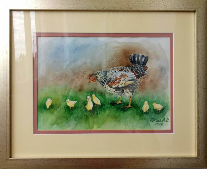 """Painting titled """"Funny Chicken"""" by Анастасия Гоголь, Original Art, Watercolor Mounted on Wood Panel"""