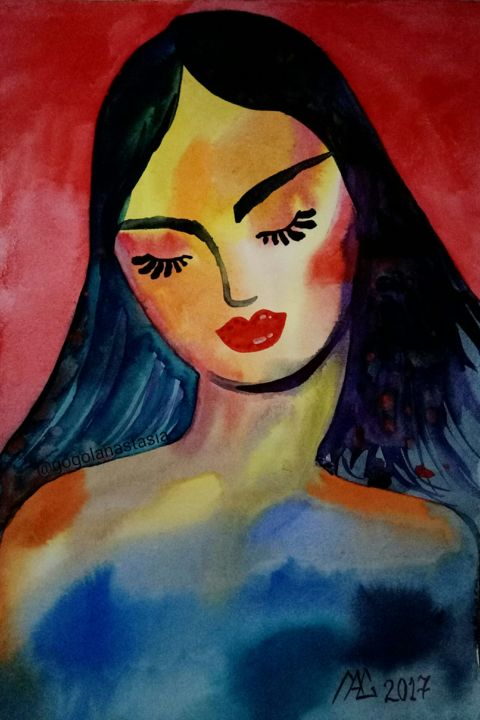 """Painting titled """"Just a girl"""" by Анастасия Гоголь, Original Art, Watercolor Mounted on Wood Panel"""