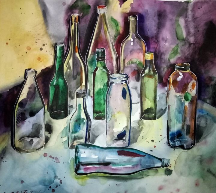 """Painting titled """"Empty bottles"""" by Анастасия Гоголь, Original Art, Watercolor Mounted on Wood Panel"""