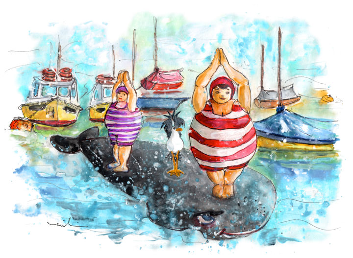Les Belles De Fowey 03 - Painting,  8.3x11.8 in, ©2018 by Miki de Goodaboom -                                                                                                                                                                                                                                                                                                                                                                                                                                                                                                                                                                                          Expressionism, expressionism-591, Sports, Travel, Women, England, Cornwall, Fowey, bathing beauties, fat women, whales, gymnastics