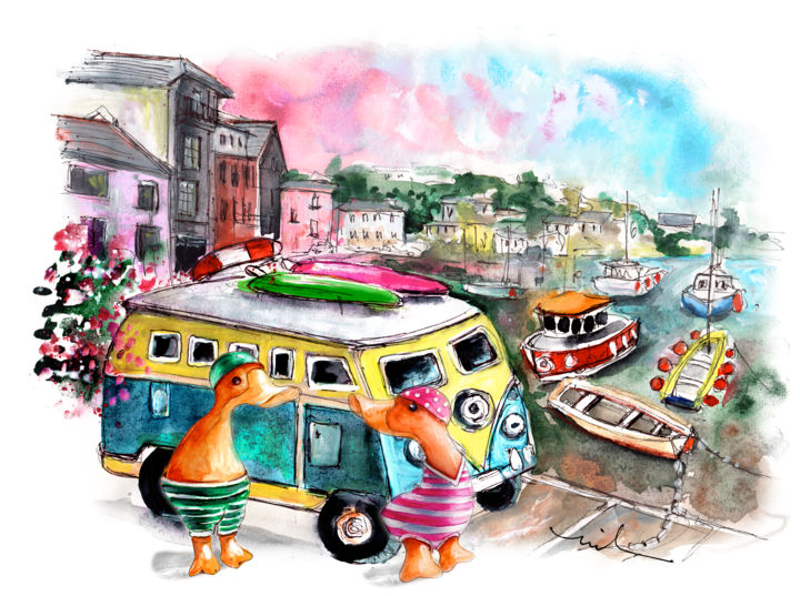 The Ducks Of Mevagissey 02 - Painting,  8.3x11.8 in, ©2018 by Miki De Goodaboom -                                                                                                                                                                                                                                                                                                                                                                                                                                                                                                                                                                                                                                                                                  Expressionism, expressionism-591, Animals, Birds, Travel, England, Cornwall, Mevagissey, ducks, harbour, VW Camper, boats, fun, whimsical art