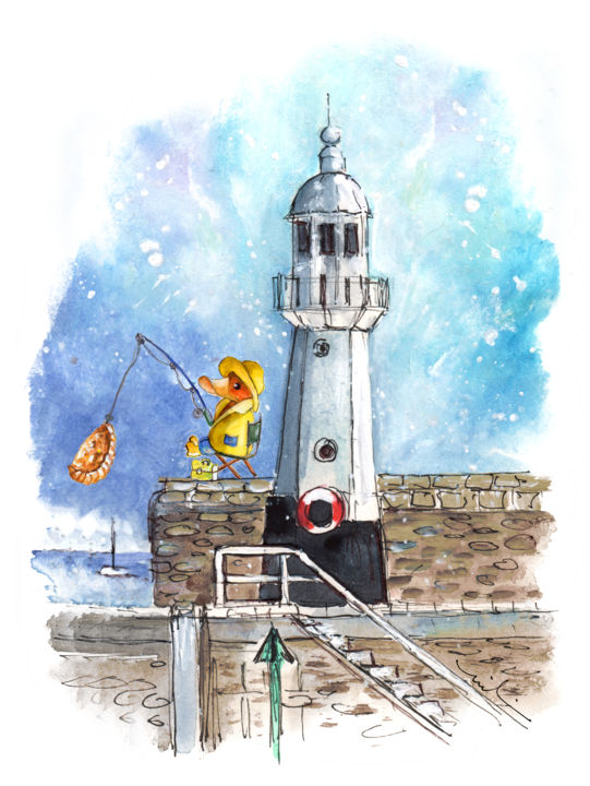 The Ducks Of Mevagissey 04 - Painting,  8.3x5.9 in, ©2018 by Miki de Goodaboom -                                                                                                                                                                                                                                                                                                                                                                                                                                                                                                                                                                                                                                                                                                                                                                                                                                                                                                                                                                                                      Illustration, illustration-600, Animals, Birds, Seascape, Travel, England, Cornwall, Mevagissey, harbour, seascape, lighthouse, duck, funny duck, duck fishing, pastry, Cornish pastry, duck fishing pastry, angling, duck angling, seaman duck