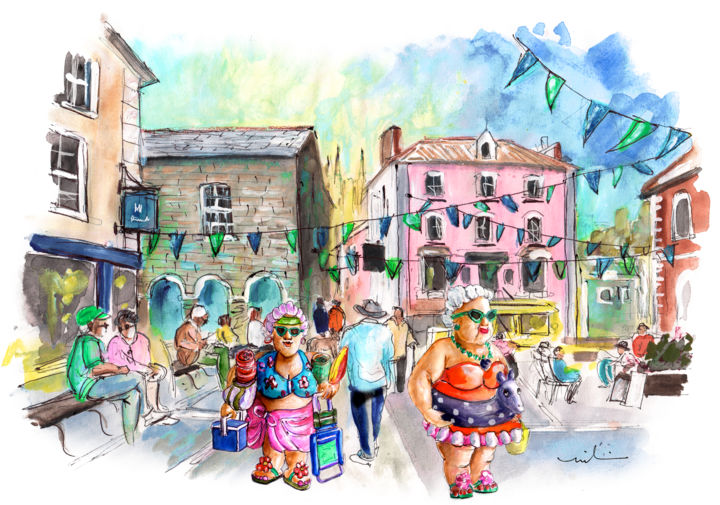 Les Belles De Fowey 08 - Painting,  8.3x11.8 in, ©2018 by Miki De Goodaboom -                                                                                                                                                                                                                                                                                                                                                                                                                                                                                                                                                                                                                                                                                                                                                                          Illustration, illustration-600, Architecture, Travel, Women, England, Cornwall, Fowey, plump women, fat woman, bathing beauties, townscape, town square, women going to the beach, people, Fowey festival
