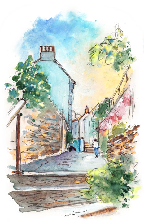 Fowey 02 - Painting,  8.3x5.9 in, ©2018 by Miki De Goodaboom -                                                                                                                                                                                                                                                                                                                                                                                                                                                                                                                                                                                                                                                                                  Expressionism, expressionism-591, Architecture, Cityscape, People, England, Cornwall, Fowey, people, architecture, townscape, street, beautiful street, harbour village