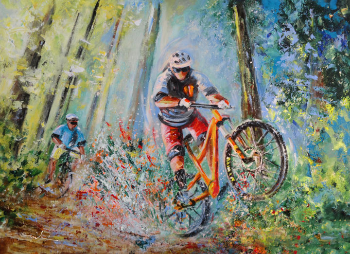 Mountain Biking - Painting,  60x80x2 cm ©2018 by Miki de Goodaboom -                                                                                Expressionism, Impressionism, Realism, Nature, Sports, cycling, bikes, biking, bikers, mountain, mountain biker, mountain biking, woods, water, creek, vibrant, colours, movement