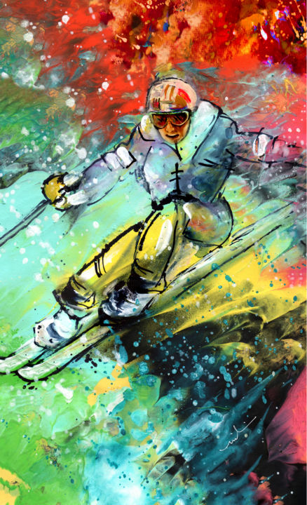 Skiing 11 - Painting ©2018 by Miki de Goodaboom -                                                                    Expressionism, Impressionism, Modernism, Sports, winter sports, ski, skiing, skis, man skiing, athlete, extreme sports, snow, movement, vibrant colours