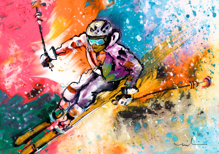 Skiing 09 - Painting ©2018 by Miki de Goodaboom -                                                                    Abstract Expressionism, Expressionism, Impressionism, Sports, sport, sports, sport art, ski, skiing, ski art, skier, downhill, colours, movement, snow, winter, winter sports, extreme sports