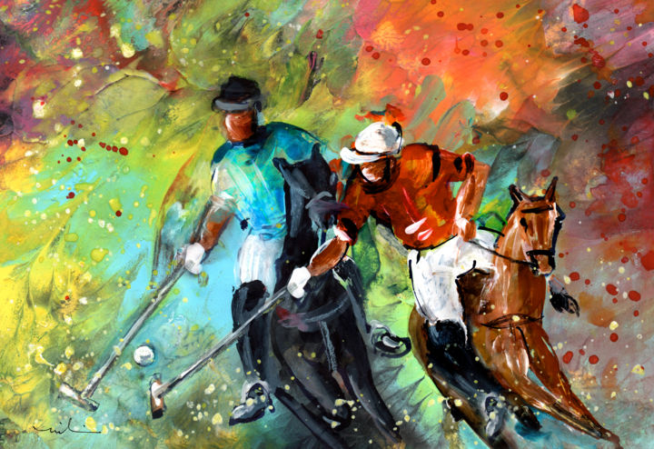 Polo 02 - Painting ©2018 by Miki de Goodaboom -                                                                                            Classicism, Expressionism, Modernism, Animals, Horses, Sports, sports, sport, horses, horse, horse sports, polo, ball game, movement, vibrant colours, riding, riding horses