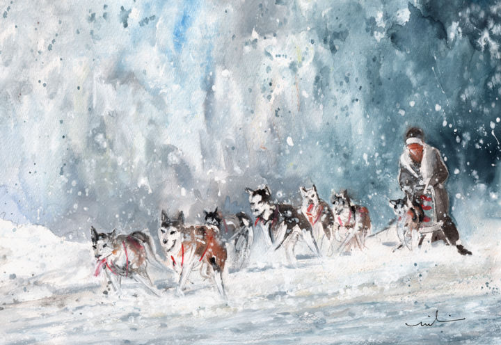 Huskie Race In Germany - Painting ©2016 by Miki de Goodaboom -                                                                                Expressionism, Impressionism, Animals, Dogs, Sports, sport, winter sport, huskies, dogs, dog race, huskie race, sledge, landscape, woods