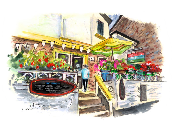 Murphys Pinky Cafe In Fowey - Painting ©-2018 by Miki de Goodaboom -                                                                    Expressionism, Impressionism, Architecture, Travel, England, Cornwall, Fowey, cafe, cafes, townscape, Pinky Murphys Cafe, harbour village, flowers