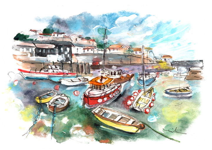 Mevagissey 02 - Painting,  8.3x11.8 in, ©2018 by Miki de Goodaboom -                                                                                                                                                                                                                                                                                                                                                                                                                                                                                                                                                                                          Expressionism, expressionism-591, Boat, Seascape, Travel, England, Cornwall, Mevagissey, seascape, harbour, boats, colourful boats