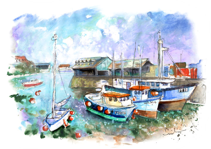 Mevagissey 03 - Painting,  8.3x11.8 in, ©2018 by Miki de Goodaboom -                                                                                                                                                                                                                                                                                                                                                                                                                                                                                                                                                                                                                                      Expressionism, expressionism-591, Boat, Seascape, Travel, England, Cornwall, Mevagissey, seascape, boat, boats, beautiful boats, harbour