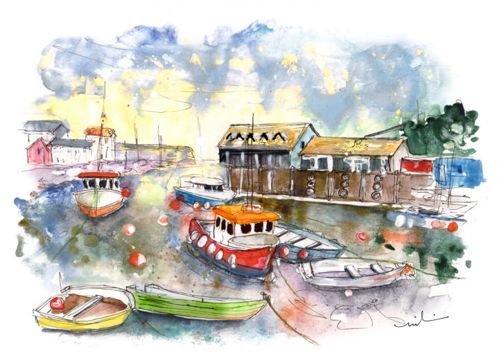 Mevagissey 04 - Painting ©2018 by Miki de Goodaboom -                                                                                Expressionism, Impressionism, Boat, Seascape, Travel, England, Cornwall, Mevagissey, seascape, harbour, boats, colourful boats