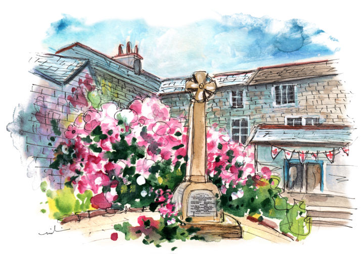 Mevagissey 05 - Painting,  8.3x11.8 in, ©2018 by Miki de Goodaboom -                                                                                                                                                                                                                                                                                                                                                                                                                                                                                                                                                                                                                                                                                  Expressionism, expressionism-591, Architecture, Cityscape, Travel, England, Cornwall, Mevagissey, square, townscape, monument, cross, flowers, houses