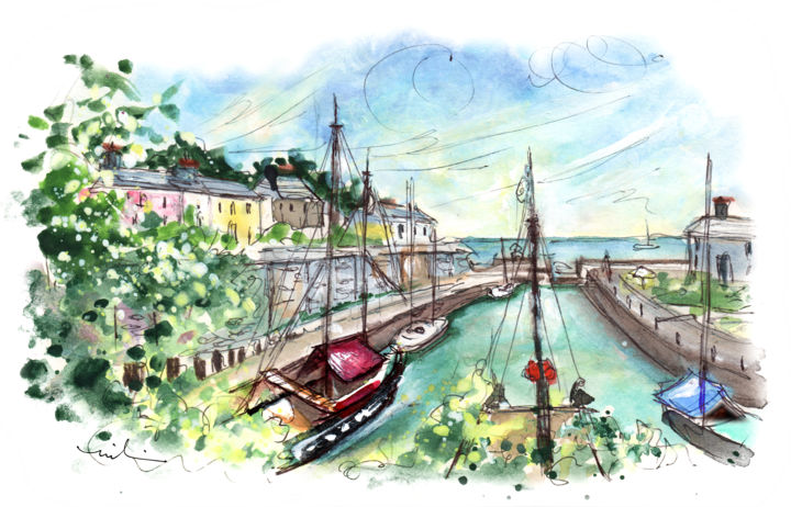 Charlestown 03 - Painting,  8.3x11.8 in, ©2018 by Miki de Goodaboom -                                                                                                                                                                                                                                                                                                                                                                                                                                                                                                                                                                                                                                                                                  Expressionism, expressionism-591, Architecture, Boat, Seascape, Travel, England, Cornwall, Charlestown, harbour, houses, boats, old boats, Poldark
