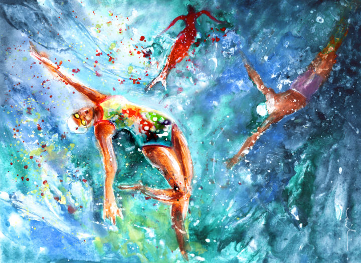 """Painting titled """"Blood Of The Sirene"""" by Miki De Goodaboom, Original Art, Watercolor"""