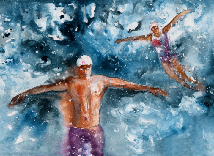 Drifting Apart - Painting ©2016 by Miki de Goodaboom -                                                                                Expressionism, Impressionism, Love / Romance, Sports, Women, sports, sport, water sport, swimming, swimming art, love, romance, hate, book