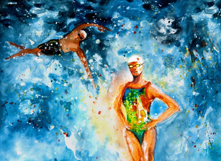 Fighting Back - © 2016 sports, sport, water sport, swimming, tomance, love, water love, man swimming, woman swimming Online Artworks