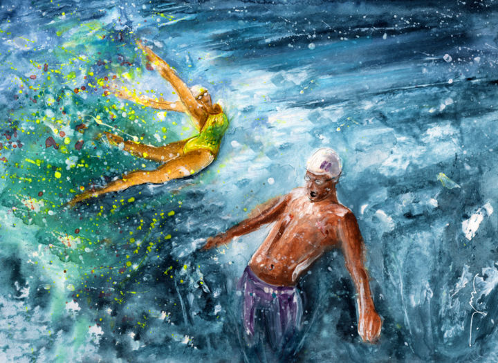 The Water Wall - Painting ©2016 by Miki de Goodaboom -                                                                                            Expressionism, Impressionism, Love / Romance, Men, Sports, Women, sport, sports, water sport, woman swimming, man swimming, love, water love, under water, water dancing, water dance
