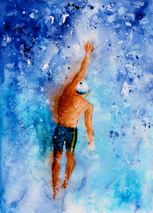 The Art Of Backstroke Swimming - Painting ©2016 by Miki de Goodaboom -                                                                    Expressionism, Impressionism, Sports, Water, sport, sports, water, water sports, man swimming, back stroke, man swimming back stroke