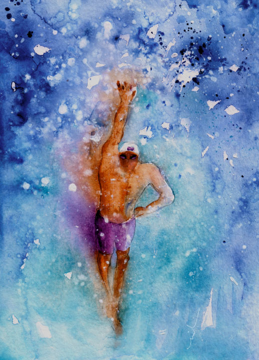 The Art Of Free Style Swimming - Painting ©2016 by Miki de Goodaboom -                                                                    Expressionism, Impressionism, Sports, Water, sport, sports, water sports, swim, swimming, free style, crawl, crawl swimming, man swimming