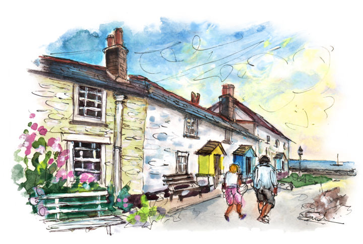Charlestown 04 - Painting,  5.9x8.3 in, ©2018 by Miki de Goodaboom -                                                                                                                                                                                                                                                                                                                                                                                                                                                                                                                                              Expressionism, expressionism-591, Architecture, People, Travel, England, Cornwall, Charlestown, street, houses, people