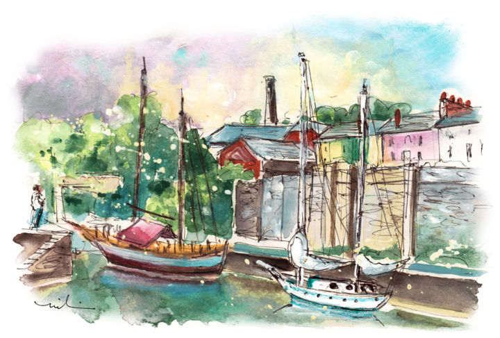 Charlestown 06 - Painting,  8.3x11.8 in, ©2018 by Miki De Goodaboom -                                                                                                                                                                                                                                                                                                                                                                                                                                                                                                                                                                                          Expressionism, expressionism-591, Boat, Seascape, Travel, England, Cornwall, Charlestown, Poldark, Harbour, boats, seascape