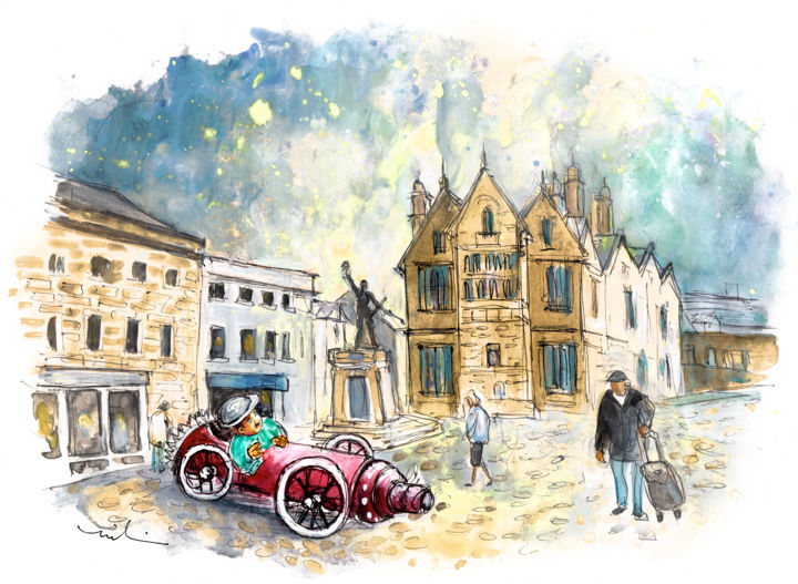 Truro 02 - Painting ©2018 by Miki de Goodaboom -                                                                                            Expressionism, Impressionism, Architecture, Automobile, People, Travel, England, Cornwall, Truro, town, town square, beautiful houses, architcture, car, funny car, whimsical art, townscape