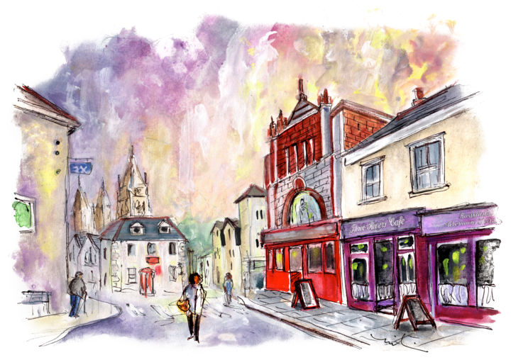 Truro 03 - Painting ©2018 by Miki de Goodaboom -                                                                                Expressionism, Impressionism, Architecture, People, Travel, England, Cornwall, Truro, square, townscare, architecture, people, beautiful houses