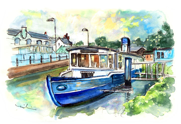 Floating Restaurant In Truro - Painting ©2018 by Miki de Goodaboom -                                                                                Expressionism, Impressionism, Boat, Travel, Water, England, Cornwall, Truro, restaurant, floating restaurant, boats, boat restaurant, river