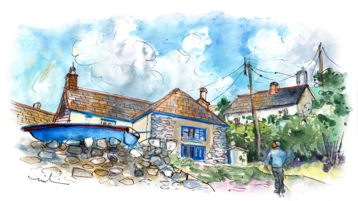 Cadgwith On Lizard Peninsula 01 - Painting ©2018 by Miki de Goodaboom -                                                                                Expressionism, Impressionism, Architecture, Landscape, People, England, Cornwall, Lizard Peninsula, Cadgwith, houses, townscape, man, boat