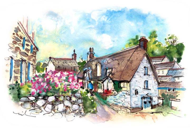 Cadgwith On Lizard Peninsula 04 - Painting ©2018 by Miki de Goodaboom -                                                                    Expressionism, Impressionism, Boat, Seascape, England, Cornwall, Lizard Peninsula, Cadgwith, houses., cottages, flowers, plants