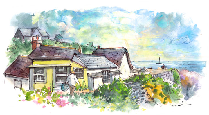 Cadgwidth On Lizard Peninsula 05 - Painting ©2018 by Miki de Goodaboom -                                                                                Expressionism, Impressionism, Architecture, Seascape, Travel, England, Cornwall, Lizard Peninsula, Cadgwith, landscape, seascape, cottages, beautiful cottages