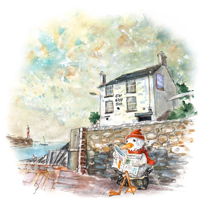The Seagulls Of Porthleven 02 - Painting ©2018 by Miki de Goodaboom -                                                                                Expressionism, Illustration, Architecture, Birds, Humor, England, Cornwall, Porthleven, harbour, bird, birds, seagull, seagulls, humour, whimsical art, seagull reading newspaper, pub, inn, The Ship Inn